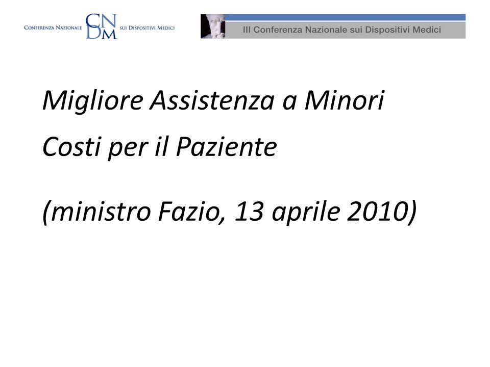 Migliore Assistenza a Minori Costi per il Paziente (ministro Fazio, 13 aprile 2010)