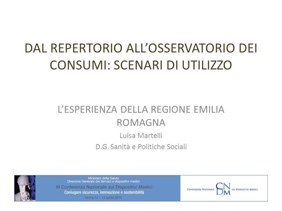 DAL REPERTORIO ALLOSSERVATORIO DEI CONSUMI: SCENARI DI UTILIZZO LESPERIENZA DELLA REGIONE EMILIA ROMAGNA Luisa Martelli D.G.