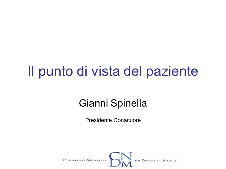 Il punto di vista del paziente Gianni Spinella Presidente Conacuore