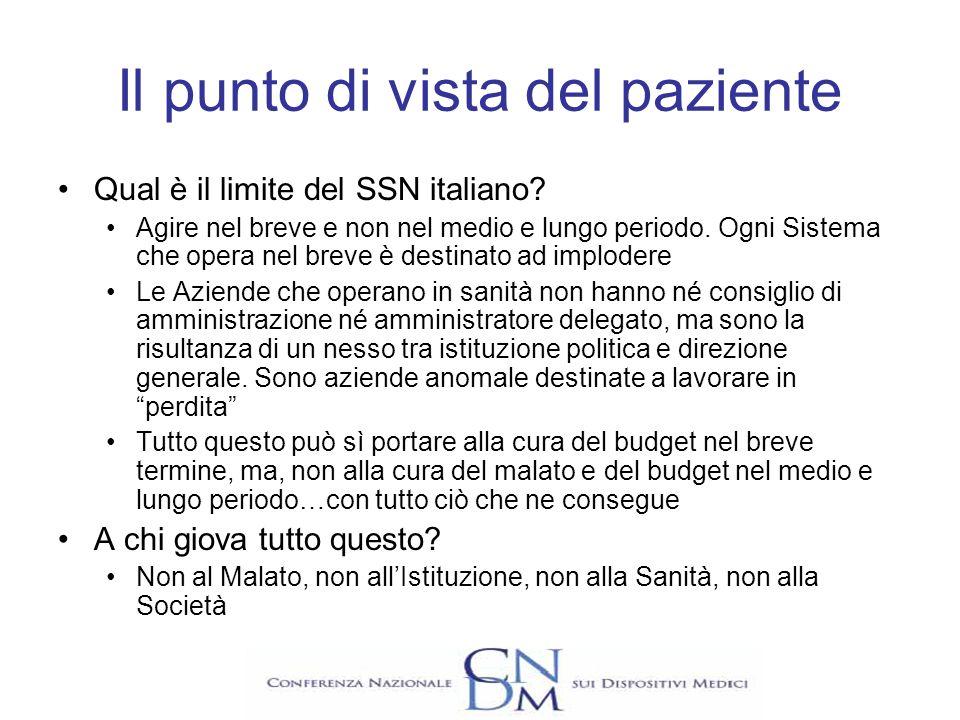 Il punto di vista del paziente Qual è il limite del SSN italiano? Agire nel breve e non nel medio e lungo periodo. Ogni Sistema che opera nel breve è