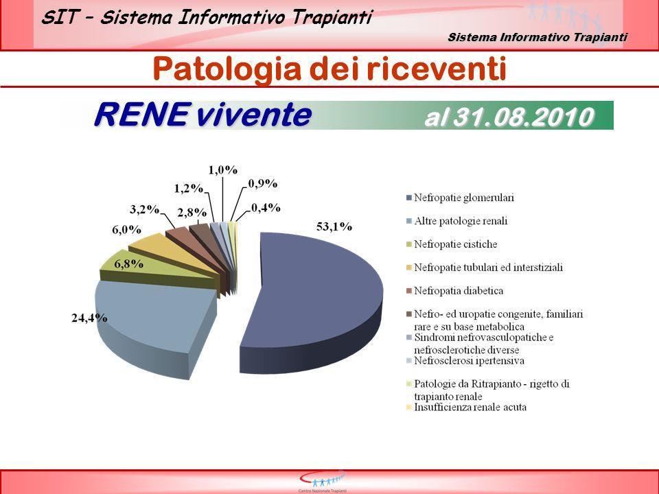 SIT – Sistema Informativo Trapianti Patologia dei riceventi RENE vivente al 31.08.2010 Sistema Informativo Trapianti