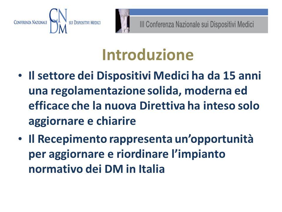 Il settore dei Dispositivi Medici ha da 15 anni una regolamentazione solida, moderna ed efficace che la nuova Direttiva ha inteso solo aggiornare e chiarire Il Recepimento rappresenta unopportunità per aggiornare e riordinare limpianto normativo dei DM in Italia Introduzione