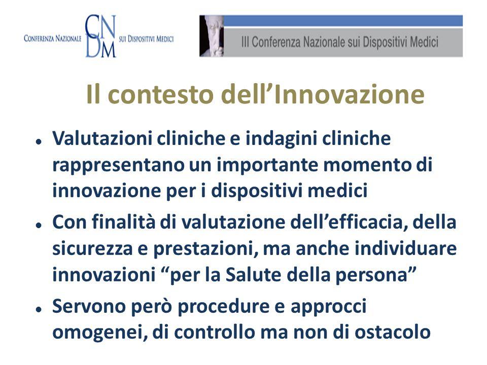 Valutazioni cliniche e indagini cliniche rappresentano un importante momento di innovazione per i dispositivi medici Con finalità di valutazione delle