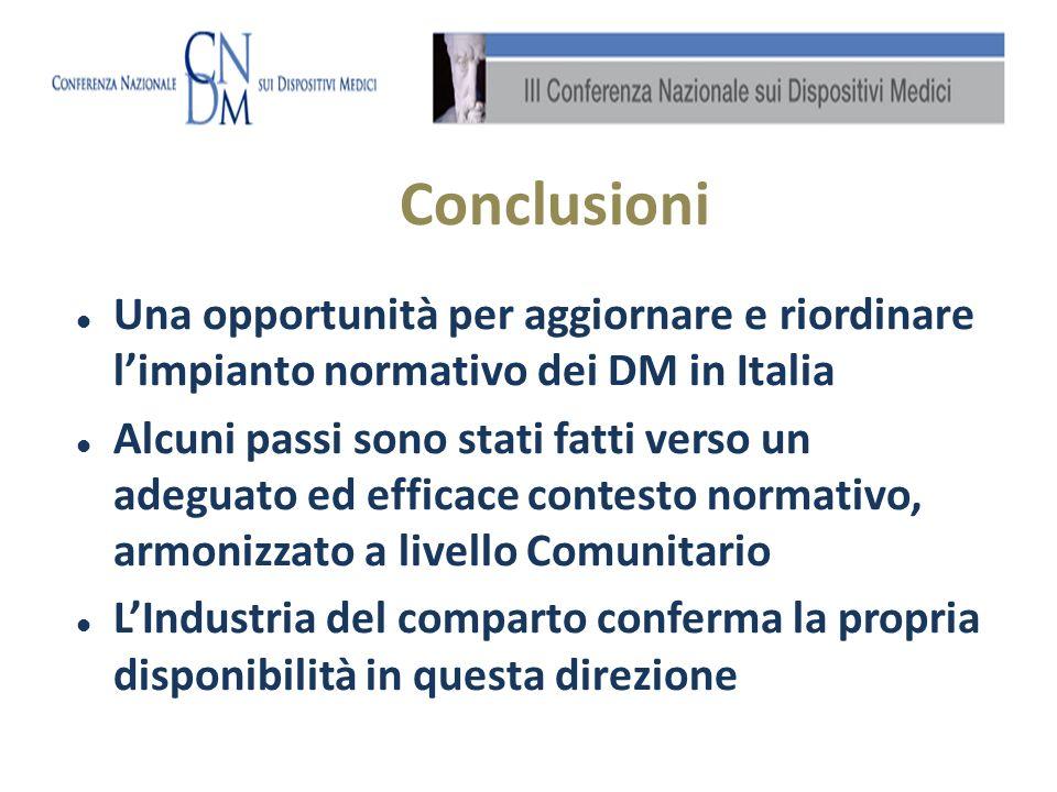 Conclusioni Una opportunità per aggiornare e riordinare limpianto normativo dei DM in Italia Alcuni passi sono stati fatti verso un adeguato ed effica