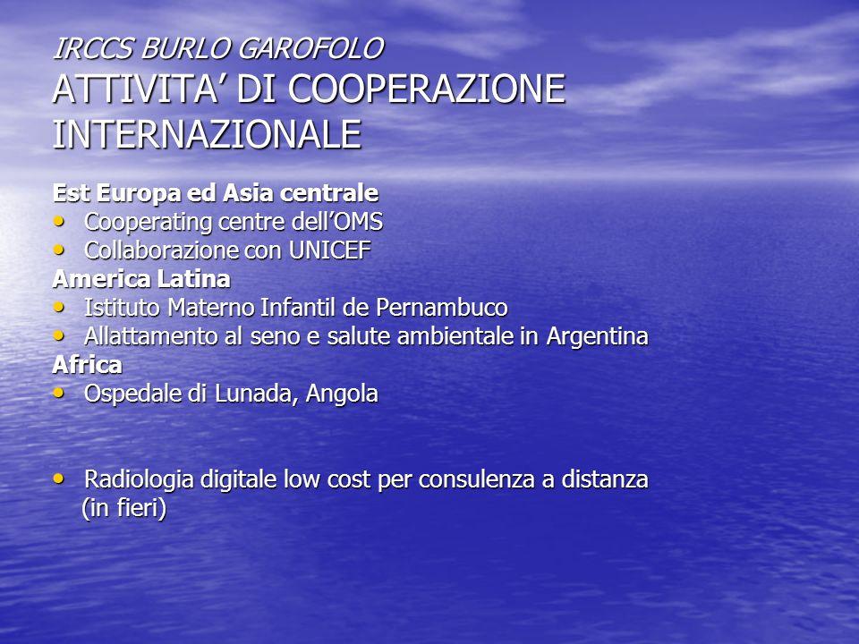 SOSTEGNO ALLA CREAZIONE DI CENTRI PER IL TRAPIANTO DI MIDOLLO OSSEO IRCCS BURLO GAROFOLO TRIESTE