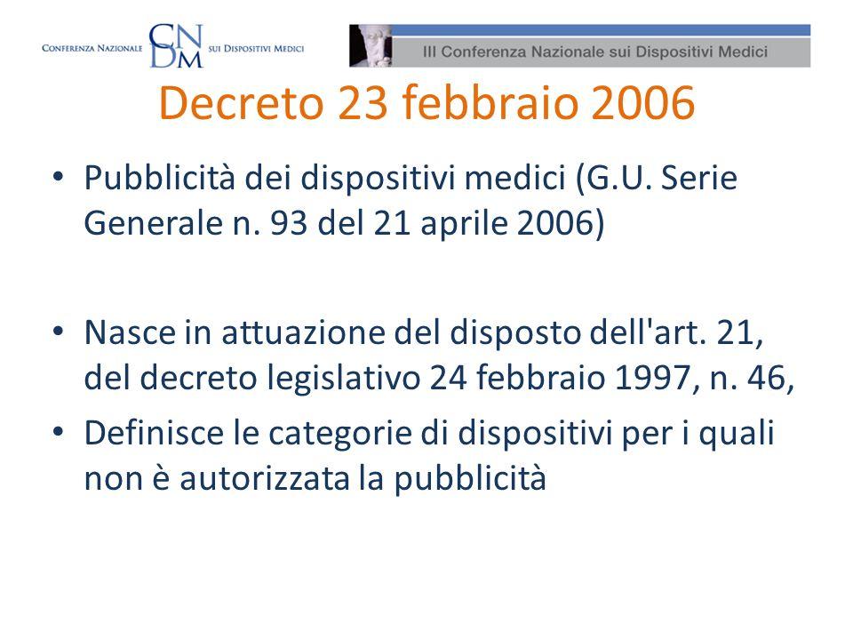 Decreto 23 febbraio 2006 Pubblicità dei dispositivi medici (G.U. Serie Generale n. 93 del 21 aprile 2006) Nasce in attuazione del disposto dell'art. 2