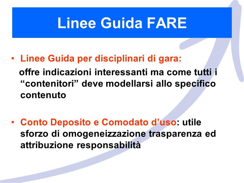 Linee Guida FARE Linee Guida per disciplinari di gara: offre indicazioni interessanti ma come tutti i contenitori deve modellarsi allo specifico conte