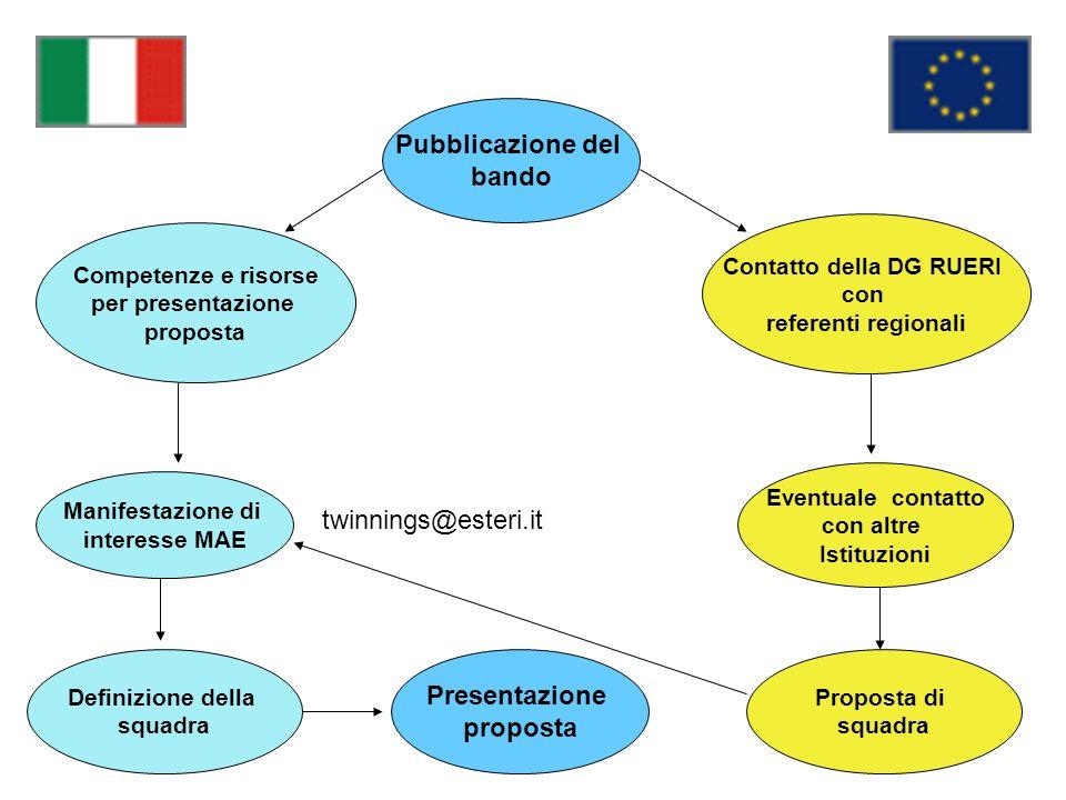 Pubblicazione del bando Competenze e risorse per presentazione proposta Manifestazione di interesse MAE Definizione della squadra Proposta di squadra