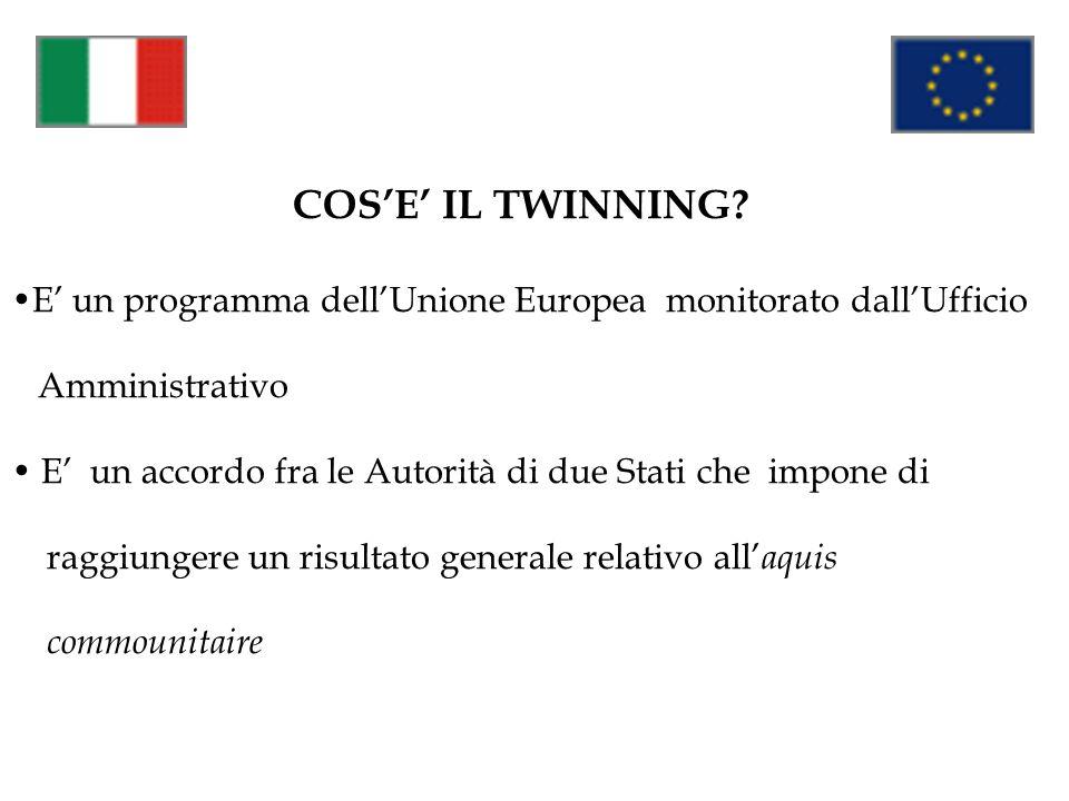 COSE IL TWINNING? E un programma dellUnione Europea monitorato dallUfficio Amministrativo E un accordo fra le Autorità di due Stati che impone di ragg