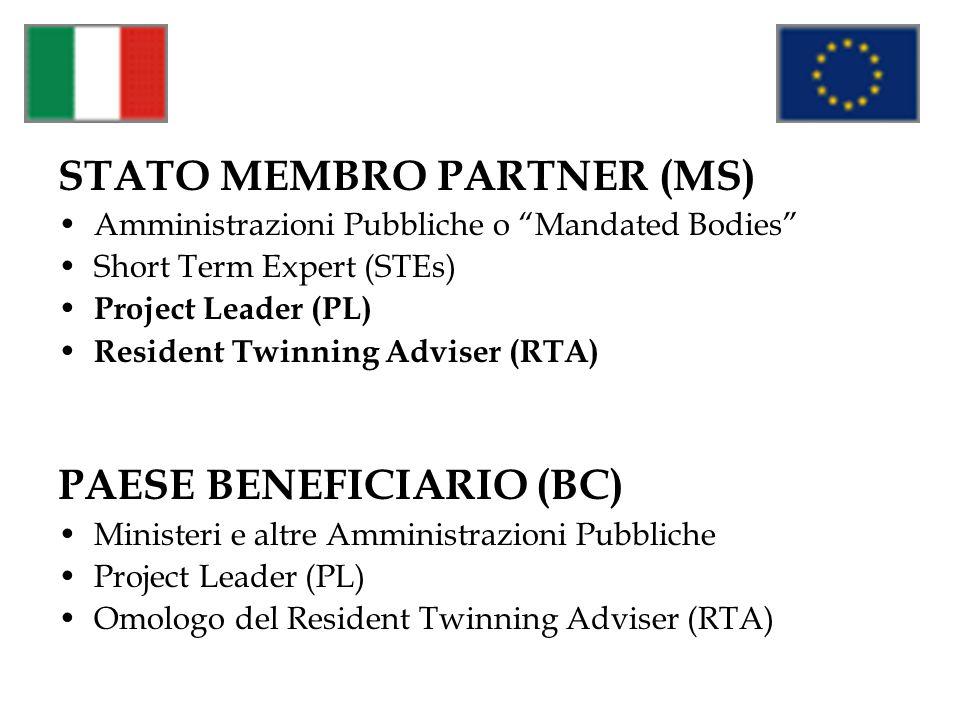 STATO MEMBRO PARTNER (MS) Amministrazioni Pubbliche o Mandated Bodies Short Term Expert (STEs) Project Leader (PL) Resident Twinning Adviser (RTA) PAE
