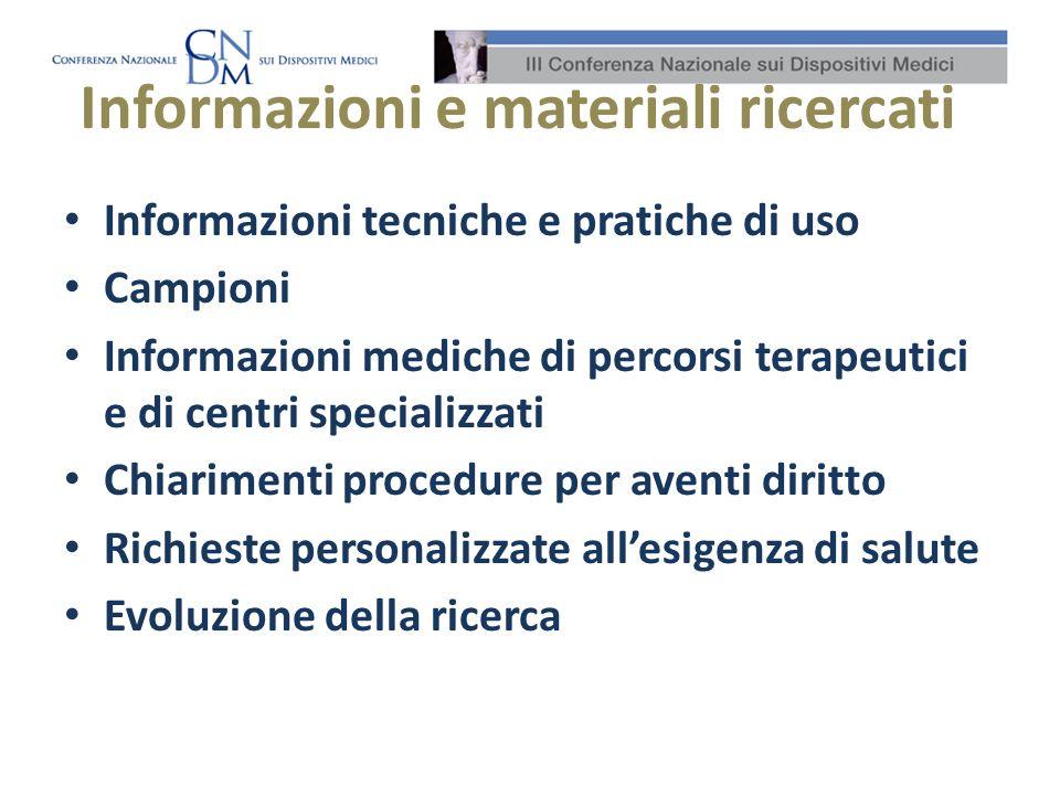 Informazioni e materiali ricercati Informazioni tecniche e pratiche di uso Campioni Informazioni mediche di percorsi terapeutici e di centri specializ