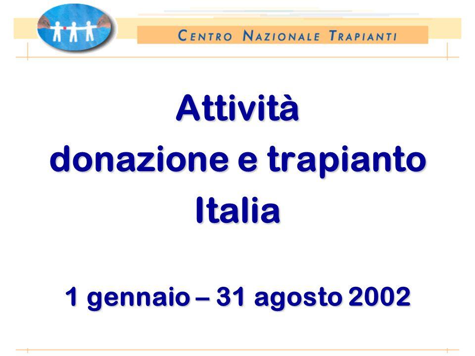 *Anno 2002: proiezione dati 31 agosto 2002 Attività donazione e trapianto Italia 1 gennaio – 31 agosto 2002