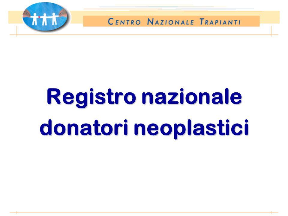 *Anno 2002: proiezione dati 31 agosto 2002 Registro nazionale donatori neoplastici