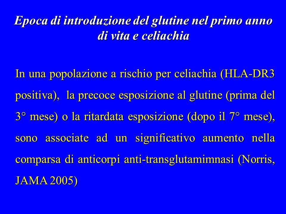 Epoca di introduzione del glutine nel primo anno di vita e celiachia In una popolazione a rischio per celiachia (HLA-DR3 positiva), la precoce esposiz