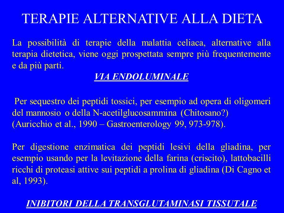 TERAPIE ALTERNATIVE ALLA DIETA La possibilità di terapie della malattia celiaca, alternative alla terapia dietetica, viene oggi prospettata sempre più