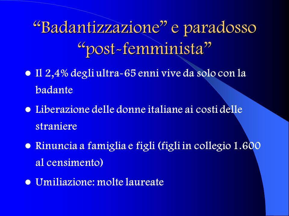 Badantizzazione e paradosso post-femminista Il 2,4% degli ultra-65 enni vive da solo con la badante Liberazione delle donne italiane ai costi delle st