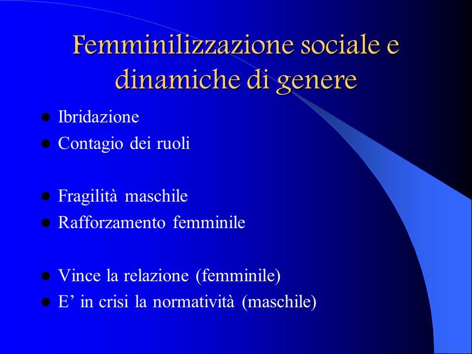 Femminilizzazione sociale e dinamiche di genere Ibridazione Contagio dei ruoli Fragilità maschile Rafforzamento femminile Vince la relazione (femminil