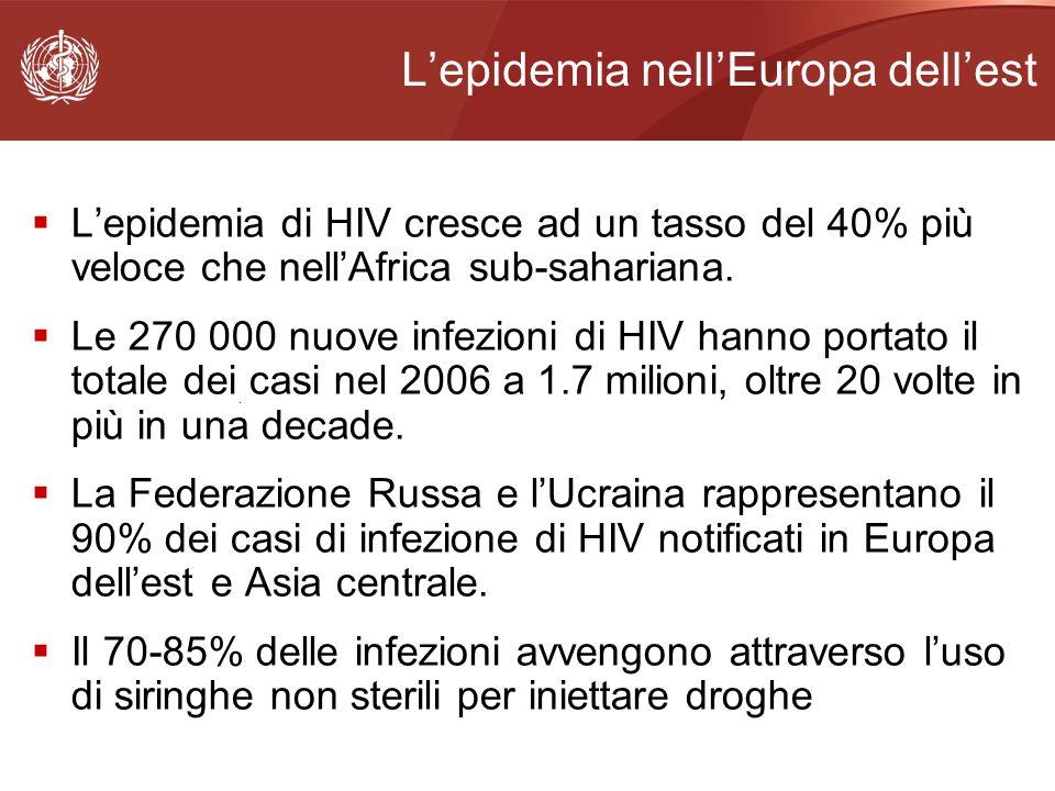 Lepidemia di HIV cresce ad un tasso del 40% più veloce che nellAfrica sub-sahariana. Le 270 000 nuove infezioni di HIV hanno portato il totale dei cas