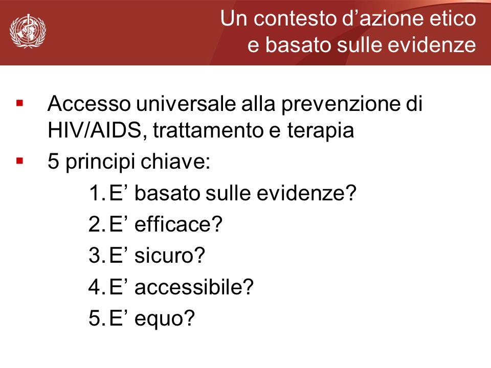 Un contesto dazione etico e basato sulle evidenze Accesso universale alla prevenzione di HIV/AIDS, trattamento e terapia 5 principi chiave: 1.E basato