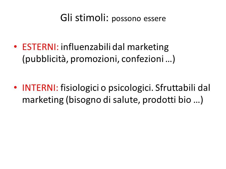 Gli stimoli: possono essere ESTERNI: influenzabili dal marketing (pubblicità, promozioni, confezioni …) INTERNI: fisiologici o psicologici. Sfruttabil