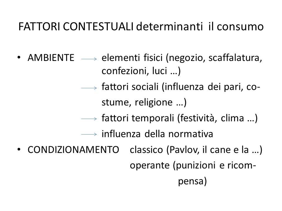 FATTORI CONTESTUALI determinanti il consumo AMBIENTE elementi fisici (negozio, scaffalatura, confezioni, luci …) fattori sociali (influenza dei pari,
