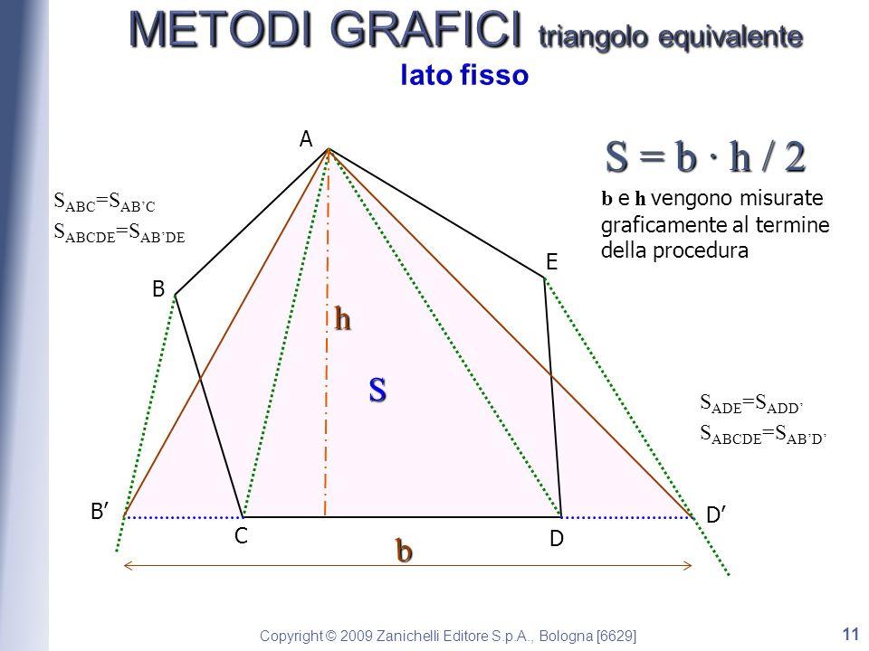 Copyright © 2009 Zanichelli Editore S.p.A., Bologna [6629] A B C D E B S ABC =S ABC S ABCDE =S ABDE S D S ADE =S ADD S ABCDE =S ABD b h S = b · h / 2 b e h vengono misurate graficamente al termine della procedura 11