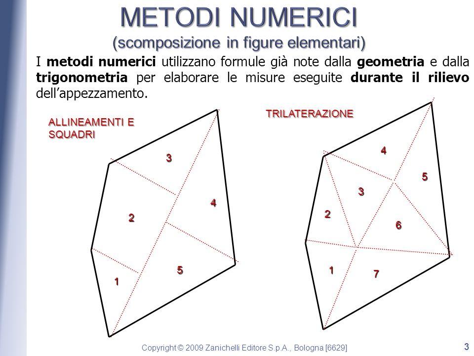 Copyright © 2009 Zanichelli Editore S.p.A., Bologna [6629] I metodi numerici utilizzano formule già note dalla geometria e dalla trigonometria per elaborare le misure eseguite durante il rilievo dellappezzamento.