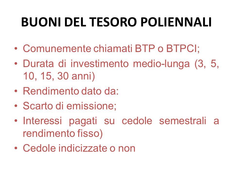 BUONI DEL TESORO POLIENNALI Comunemente chiamati BTP o BTPCI; Durata di investimento medio-lunga (3, 5, 10, 15, 30 anni) Rendimento dato da: Scarto di