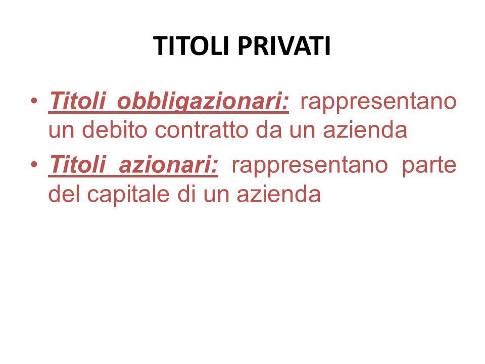 TITOLI PRIVATI Titoli obbligazionari: rappresentano un debito contratto da un azienda Titoli azionari: rappresentano parte del capitale di un azienda