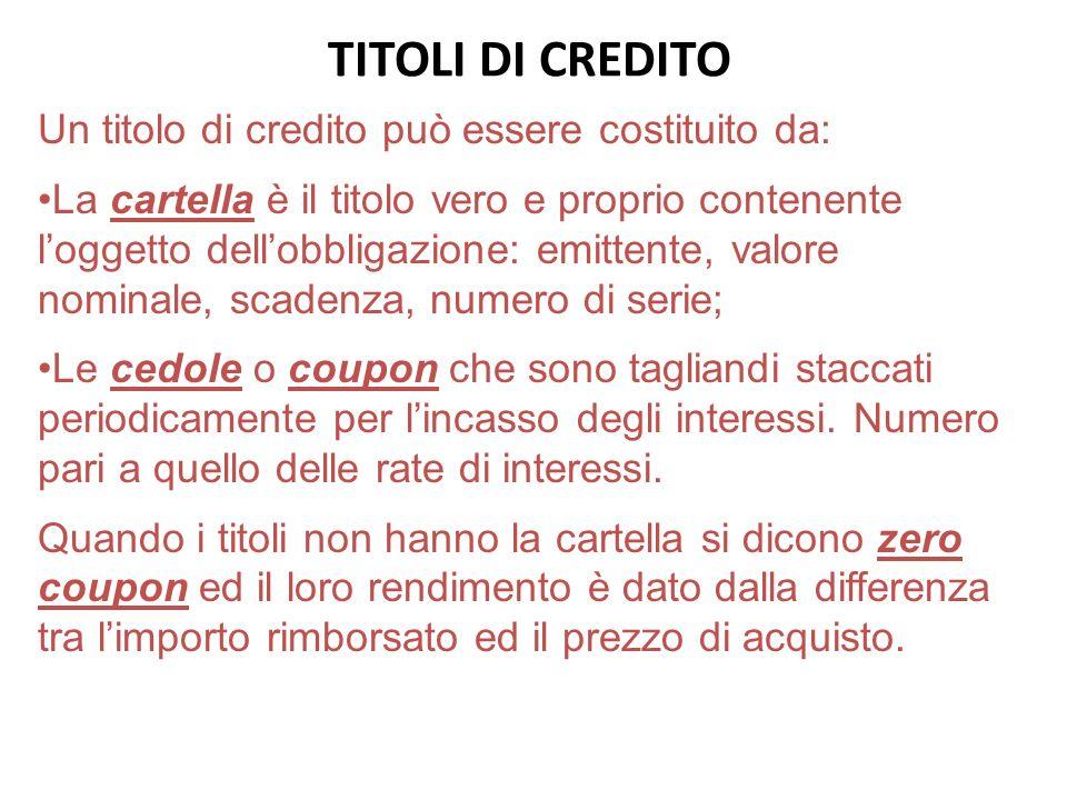 TITOLI DI CREDITO Un titolo di credito può essere costituito da: La cartella è il titolo vero e proprio contenente loggetto dellobbligazione: emittent