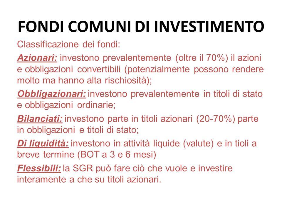 FONDI COMUNI DI INVESTIMENTO Classificazione dei fondi: Azionari: investono prevalentemente (oltre il 70%) il azioni e obbligazioni convertibili (pote
