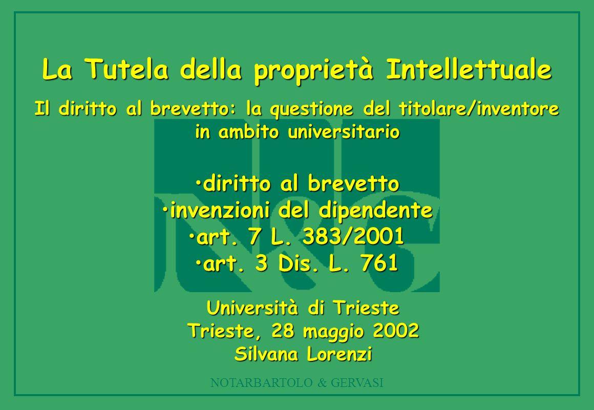 NOTARBARTOLO & GERVASI La Tutela della proprietà Intellettuale Il diritto al brevetto: la questione del titolare/inventore in ambito universitario diritto al brevettodiritto al brevetto invenzioni del dipendenteinvenzioni del dipendente art.