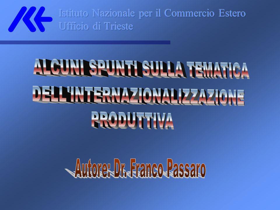 Una modalità alternativa allinvestimento diretto è rappresentata dalla Joint-Venture in cui lazienda italiana conferisce i propri know how, brevetto, marchio, modellistica ecc.