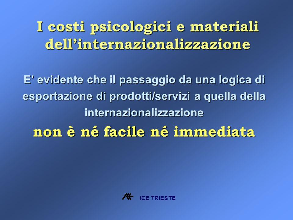 I costi psicologici e materiali dellinternazionalizzazione E evidente che il passaggio da una logica di esportazione di prodotti/servizi a quella della internazionalizzazione non è né facile né immediata ICE TRIESTE