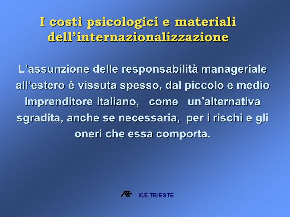 Lassunzione delle responsabilità manageriale allestero è vissuta spesso, dal piccolo e medio Imprenditore italiano, come unalternativa sgradita, anche se necessaria, per i rischi e gli oneri che essa comporta.
