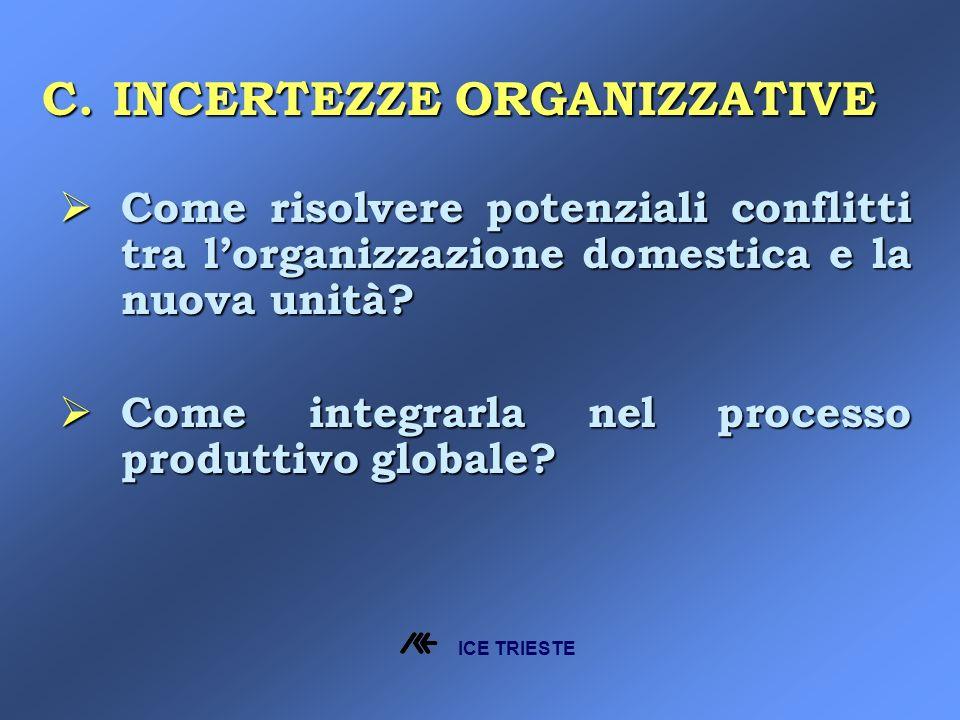 C.INCERTEZZE ORGANIZZATIVE Come risolvere potenziali conflitti tra lorganizzazione domestica e la nuova unità.