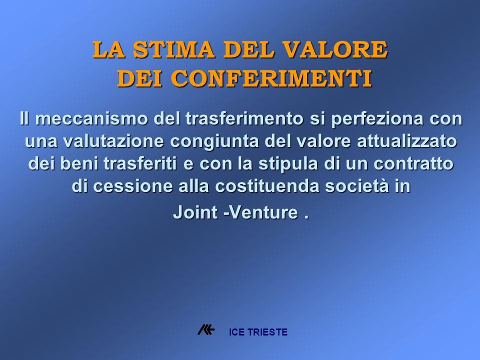 Il meccanismo del trasferimento si perfeziona con una valutazione congiunta del valore attualizzato dei beni trasferiti e con la stipula di un contratto di cessione alla costituenda società in Joint -Venture.