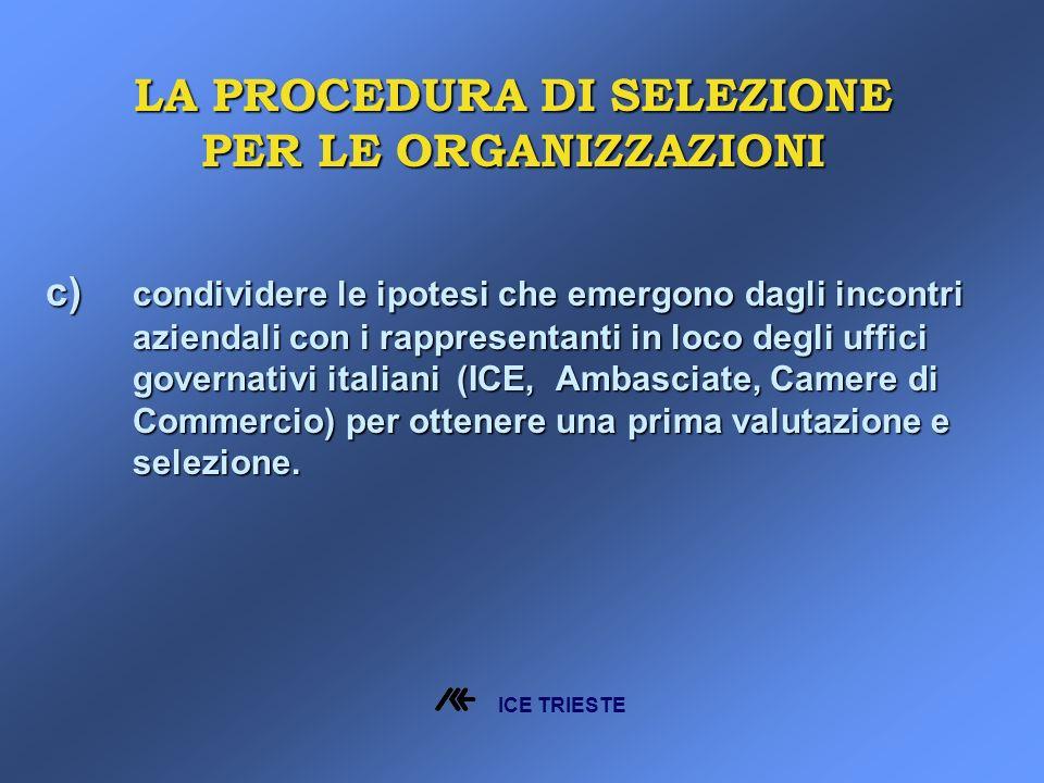 c) condividere le ipotesi che emergono dagli incontri aziendali con i rappresentanti in loco degli uffici governativi italiani (ICE, Ambasciate, Camere di Commercio) per ottenere una prima valutazione e selezione.