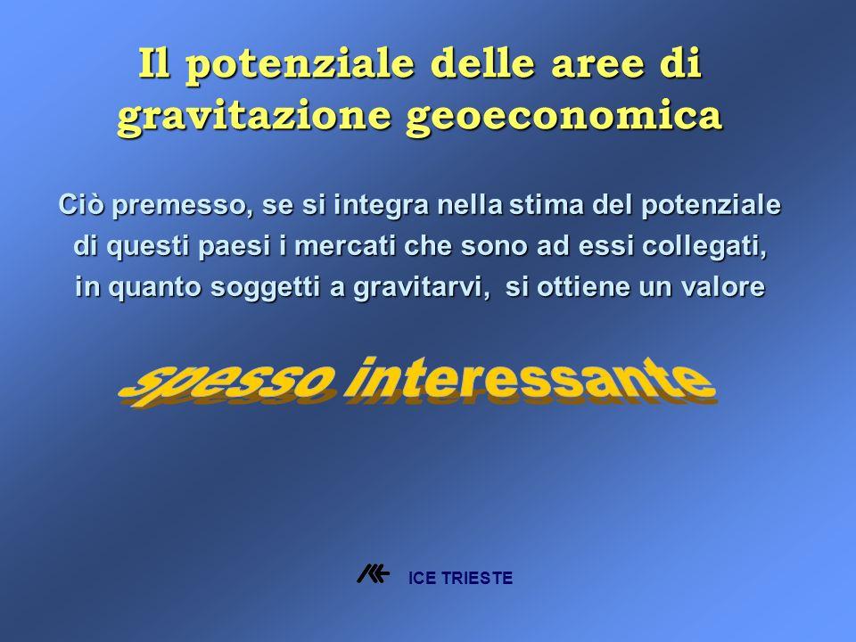 Il potenziale delle aree di gravitazione geoeconomica Ciò premesso, se si integra nella stima del potenziale di questi paesi i mercati che sono ad essi collegati, in quanto soggetti a gravitarvi, si ottiene un valore ICE TRIESTE
