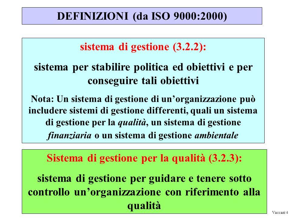 sistema di gestione (3.2.2): sistema per stabilire politica ed obiettivi e per conseguire tali obiettivi Nota: Un sistema di gestione di unorganizzazi