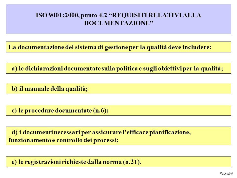 ISO 9001:2000, punto 4.2 REQUISITI RELATIVI ALLA DOCUMENTAZIONE La documentazione del sistema di gestione per la qualità deve includere: a) le dichiar
