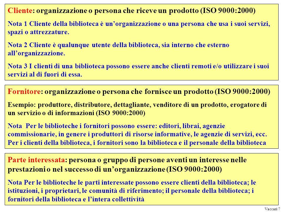 Cliente: organizzazione o persona che riceve un prodotto (ISO 9000:2000) Nota 1 Cliente della biblioteca è unorganizzazione o una persona che usa i su