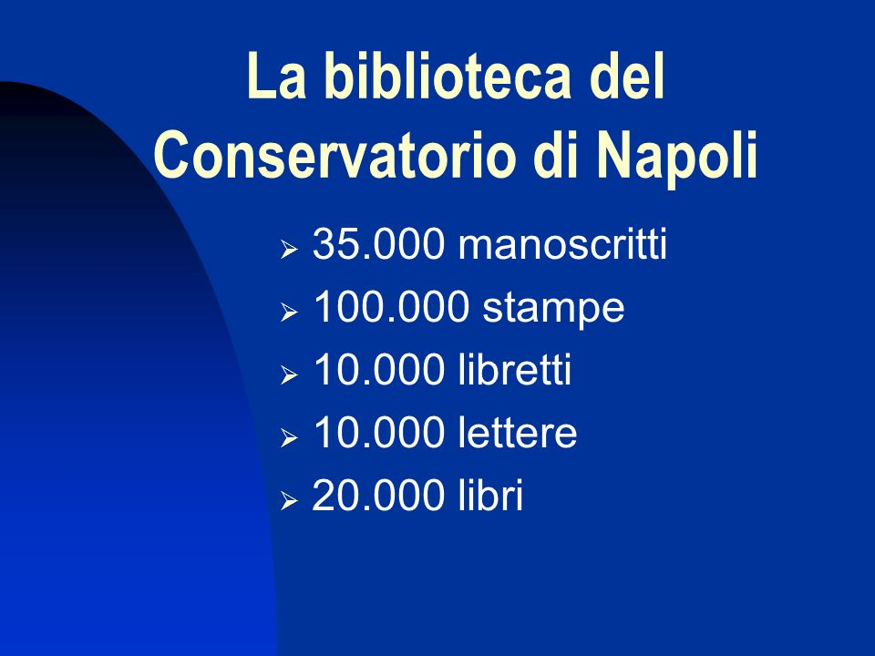 La direttiva Finalità: tutela, catalogazione e riordino della biblioteca Finanziamenti: 6.000.000.000 di lire Organizzazione: Comitato organizzativo Commissione scientifica Gruppo di lavoro