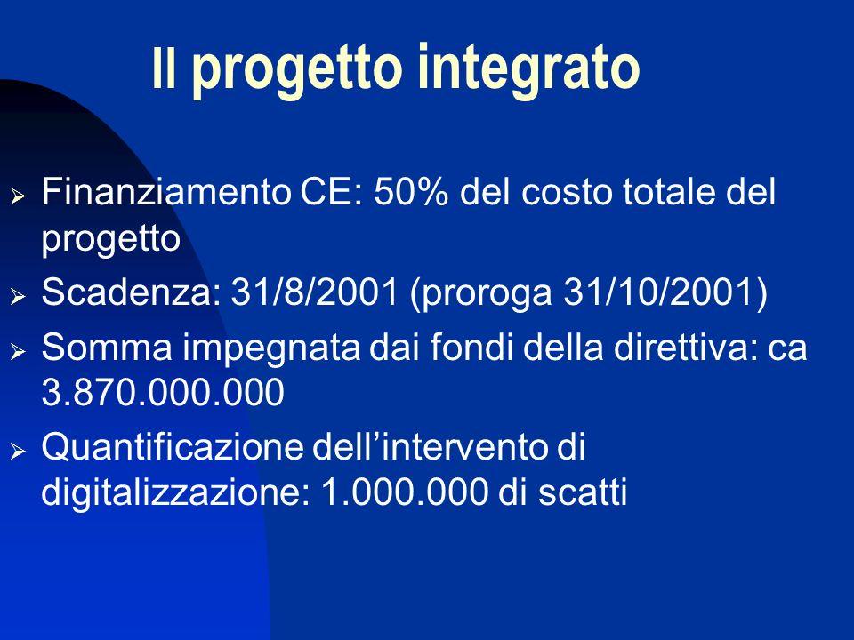 Il progetto integrato Finanziamento CE: 50% del costo totale del progetto Scadenza: 31/8/2001 (proroga 31/10/2001) Somma impegnata dai fondi della direttiva: ca 3.870.000.000 Quantificazione dellintervento di digitalizzazione: 1.000.000 di scatti