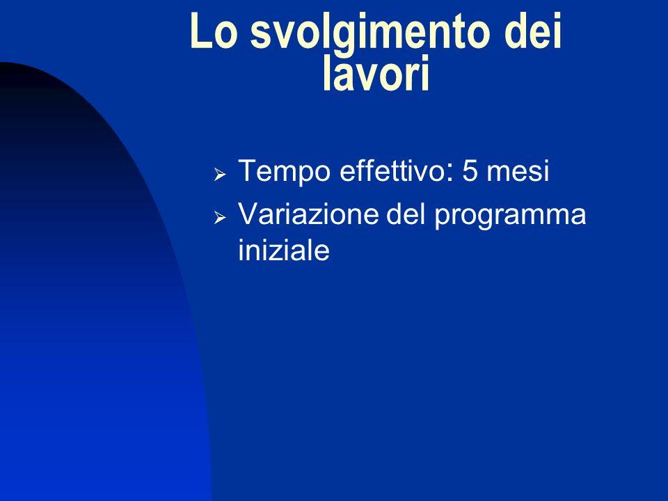 Lo svolgimento dei lavori Tempo effettivo : 5 mesi Variazione del programma iniziale