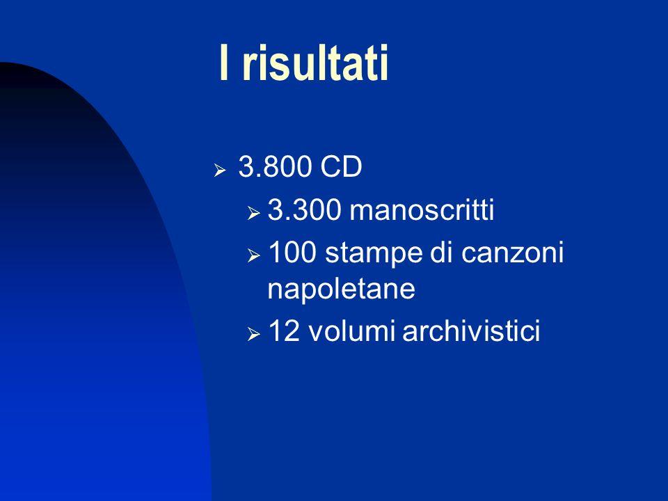 I risultati 3.800 CD 3.300 manoscritti 100 stampe di canzoni napoletane 12 volumi archivistici