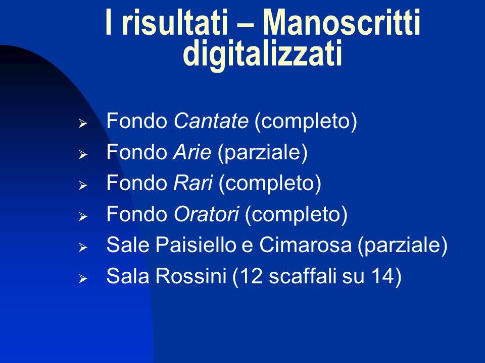 I risultati – Manoscritti digitalizzati Fondo Cantate (completo) Fondo Arie (parziale) Fondo Rari (completo) Fondo Oratori (completo) Sale Paisiello e Cimarosa (parziale) Sala Rossini (12 scaffali su 14)