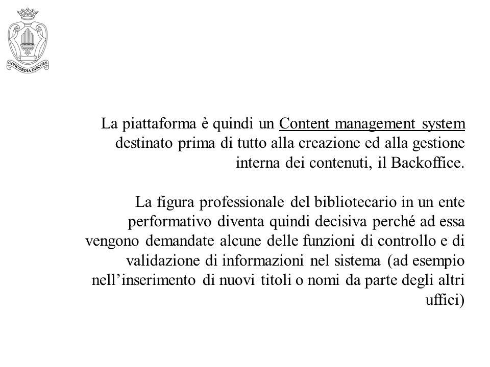 La piattaforma è quindi un Content management system destinato prima di tutto alla creazione ed alla gestione interna dei contenuti, il Backoffice. La