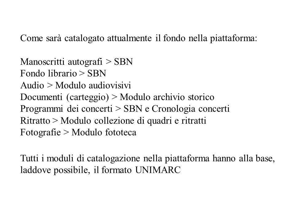 Come sarà catalogato attualmente il fondo nella piattaforma: Manoscritti autografi > SBN Fondo librario > SBN Audio > Modulo audiovisivi Documenti (ca