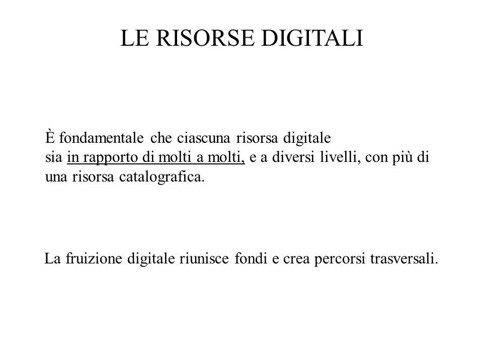 LE RISORSE DIGITALI È fondamentale che ciascuna risorsa digitale sia in rapporto di molti a molti, e a diversi livelli, con più di una risorsa catalog